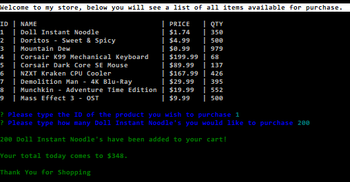 This is a CLI app built with node and uses mySQL to host the database functions. When you load the app it will display some hard-coded items with information on stock, price, and ID number.