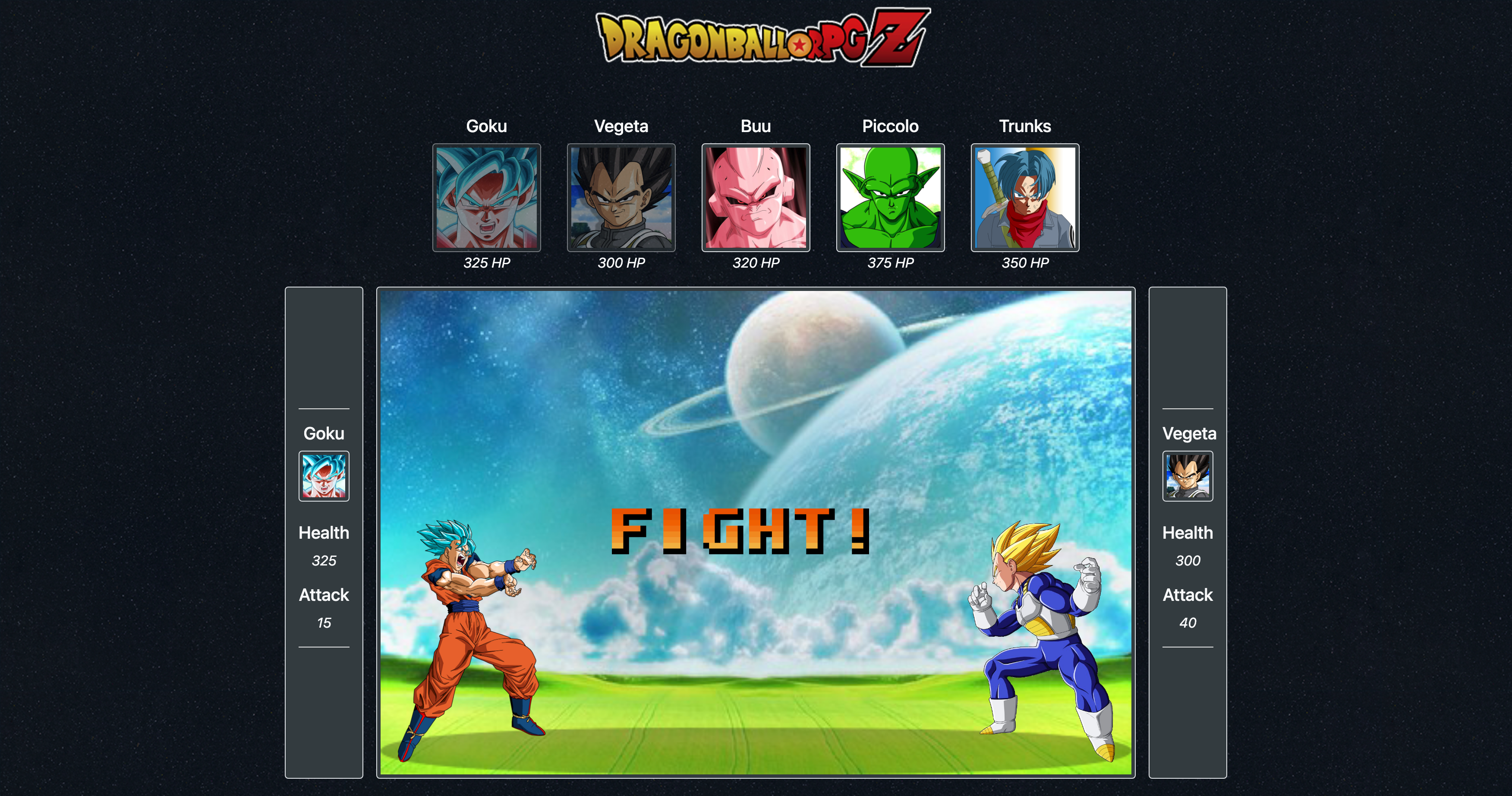 A turn based jQuery RPG using Dragonball Z as the theme. *This was one of the first apps I developed and as such it is not mobile friendly*