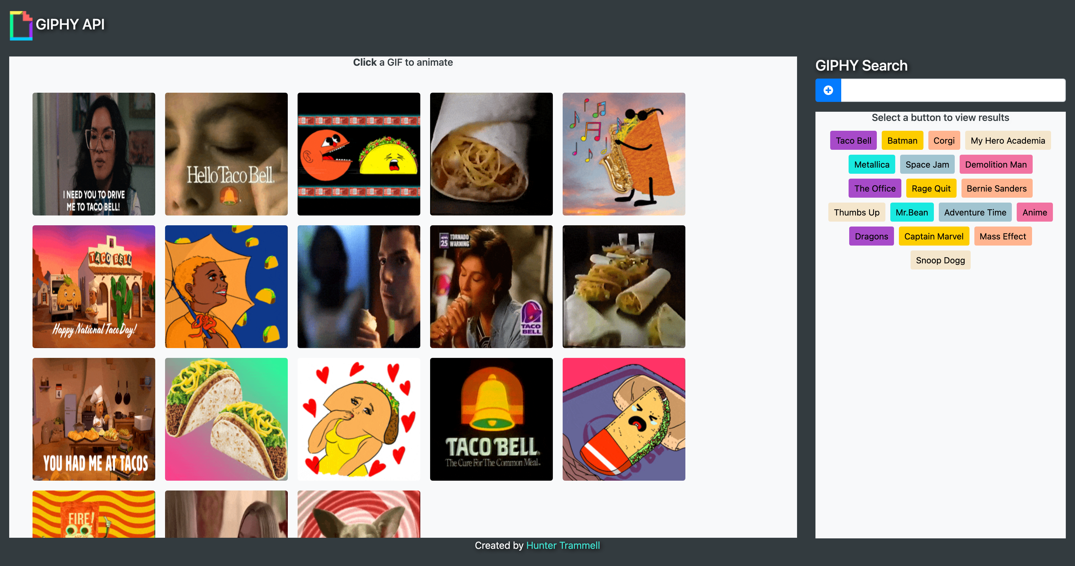 An app that pulls GIF's from the GIPHY API and displays them on a webpage