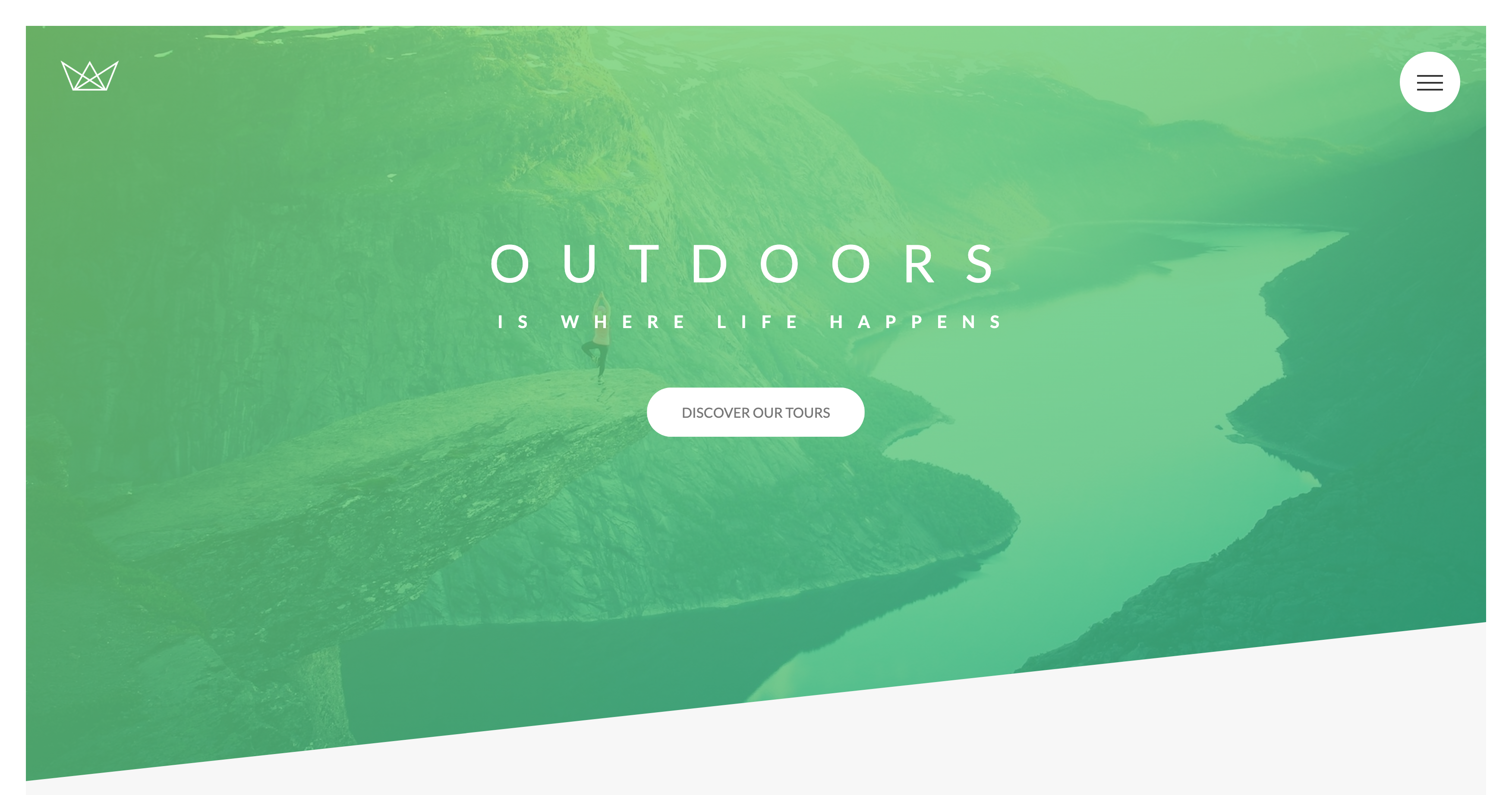 A landing page concept for a nature tour website using advanced Scss for design.