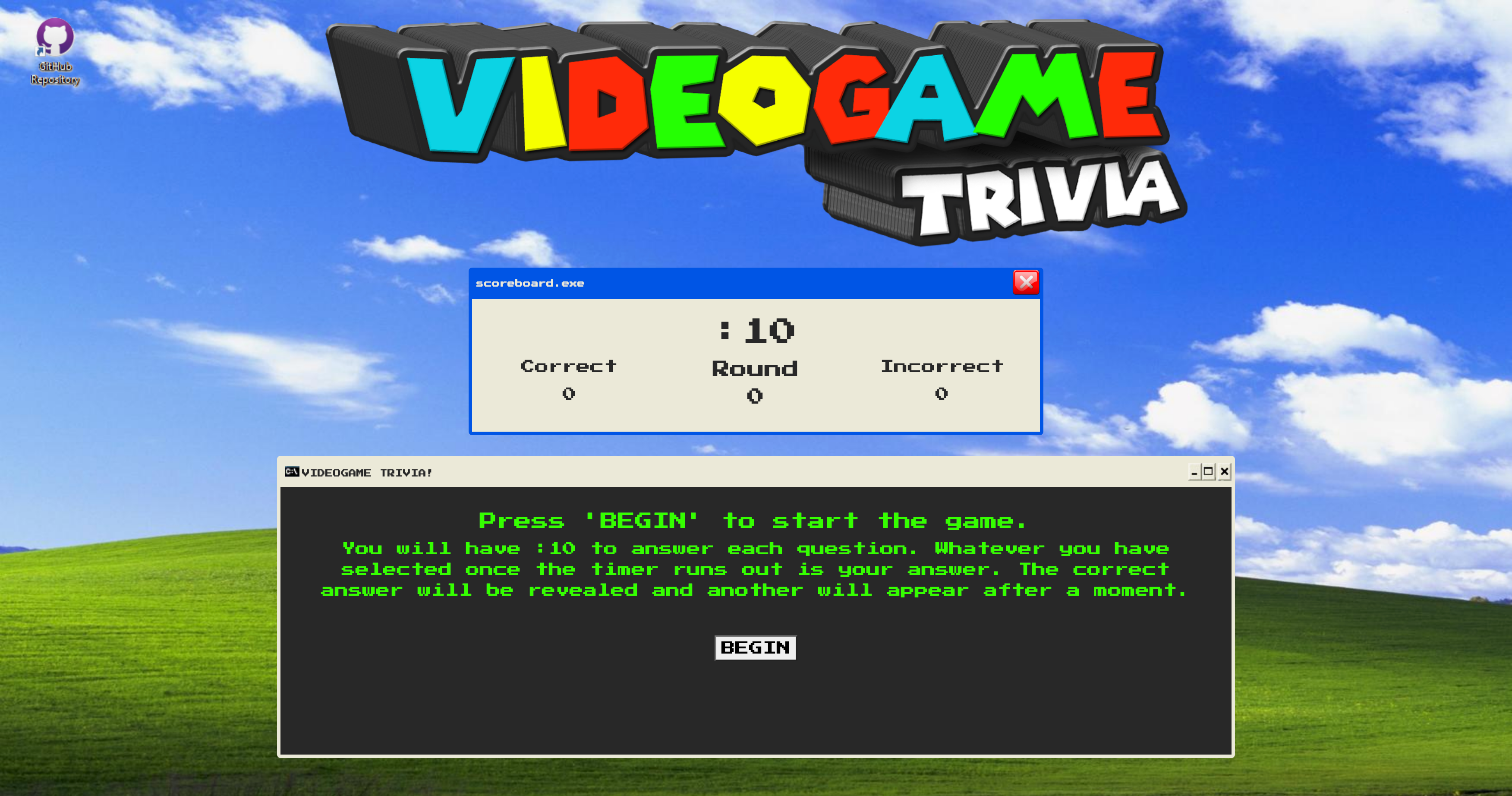 A timed trivia game that will provide a set amount of questions for the user to answer within specified time frame. The purpose of this game is to show how I can handle using jQuery DOM manipulation and setTimeout() events in JavaScript. The page will keep track of wins v. losses & round without refreshing the page.